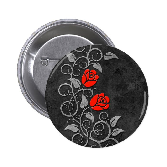 Swirling Dark Stone Red Roses Button