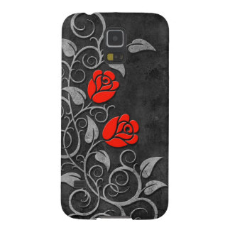 Swirling Dark Stone Red Roses Case For Galaxy S5