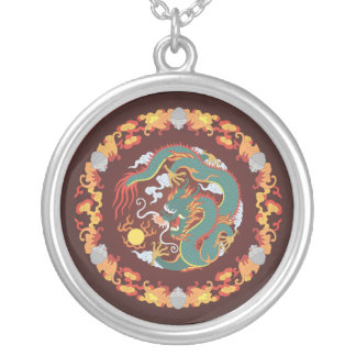 Swirling Dragon Round Pendant Necklace