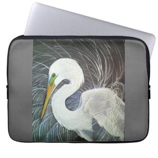 "Swirling Feathers Egret Laptop Sleeve 13"""