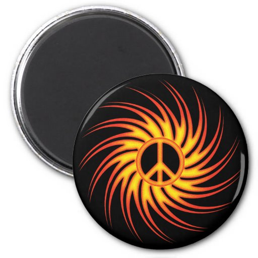 SWIRLING FIRE PEACE SIGN MAGNETS