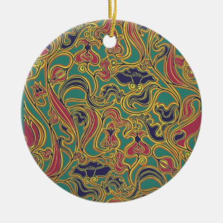 Swirling floral wallpaper, 1966-1968 Double-Sided ceramic round christmas ornament