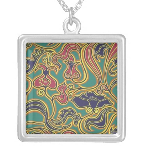 Swirling floral wallpaper, 1966-1968 personalized necklace