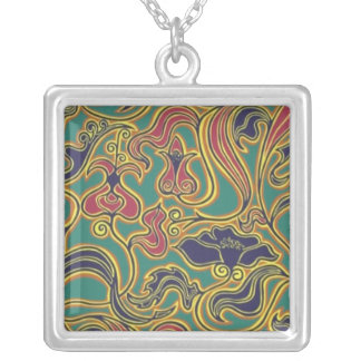 Swirling floral wallpaper, 1966-1968 square pendant necklace