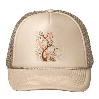 Swirling flower foliage designs mesh hat