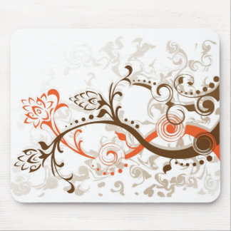 Swirling flower foliage designs mousepads