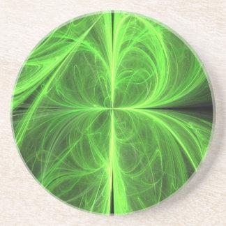 Swirling Four Leaf Clover Drink Coaster