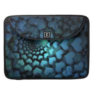 Swirling Glowing Blue Hearts Fractal Art MacBook Pro Sleeves