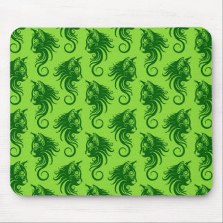 Swirling Green Cat Pattern Mouse Pad