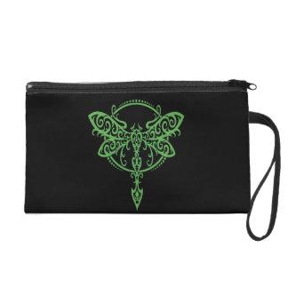 Swirling Green Dragonfly on Black Wristlet Purses