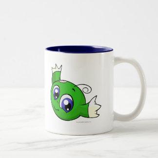 Swirling green kiko Two-Tone coffee mug