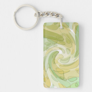 Swirling Green Yellow Abstract Art Keychain