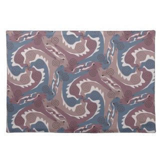 Swirling Hares Tesselation Blue Brown Placemat 7