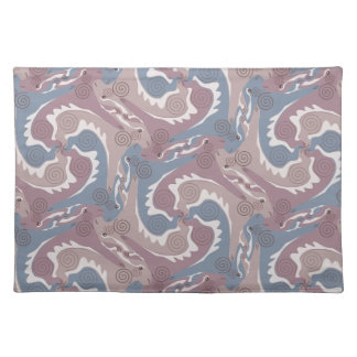 Swirling Hares Tesselation Blue Gray Placemat 1