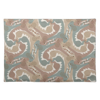 Swirling Hares Tesselation Brown Placemat 6