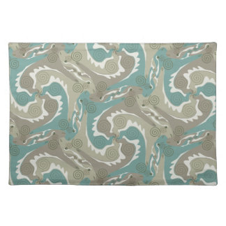 Swirling Hares Tesselation Soft Green Placemat 4