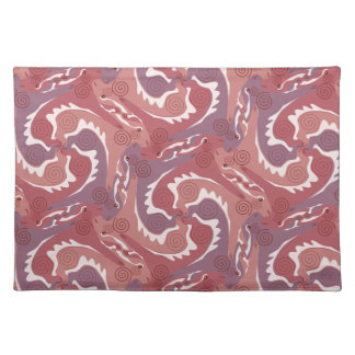Swirling Hares Tesselation Soft red Placemat 8