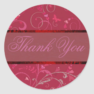 Swirling Hearts Thank You Sticker/Seal Classic Round Sticker