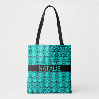 Swirling Lace Style Pattern on Bright Aqua Blue Tote Bag