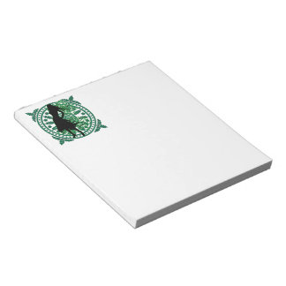 Swirling Lady in Green with Flowery Flourish Scratch Pad