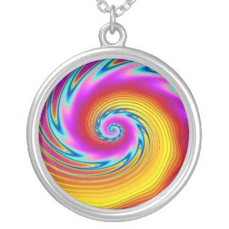 Swirling Liquid Glass (1) Round Pendant Necklace