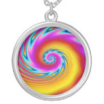 Swirling Liquid Glass (1) Round Pendant Necklace