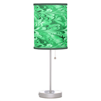 Swirling Marbled Shades of Green Desk Lamp