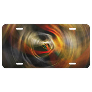 Swirling Movement Red License Plate