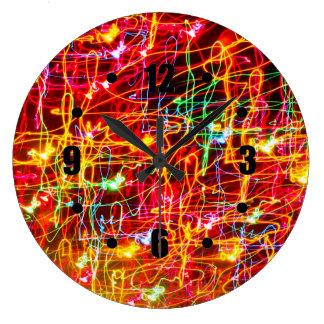 Swirling Neon Lights Glowing Wall Clocks