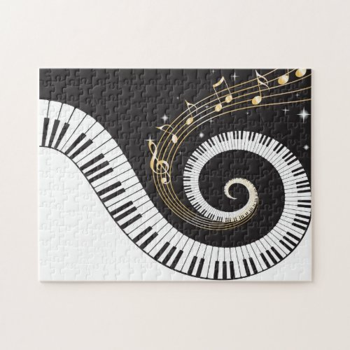 Swirling Piano Keys Jigsaw Puzzle
