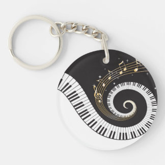 Swirling Piano Keys Keychain