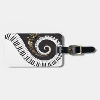 Swirling Piano Keys Luggage Tag