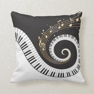 Swirling Piano Keys Throw Pillow