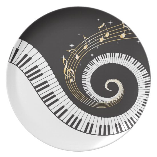 Swirling Piano Keys Plate