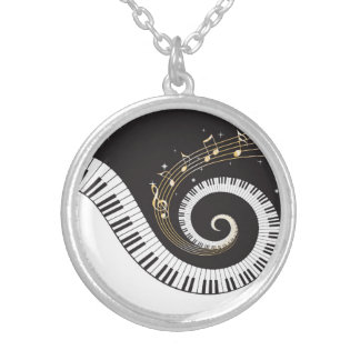 Swirling Piano Keys Round Pendant Necklace