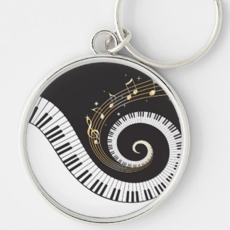 Swirling Piano Keys Silver-Colored Round Keychain