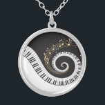 """Swirling Piano Keys Silver Plated Necklace<br><div class=""""desc"""">A fun musical design with swirling piano keys and gold musical notes.</div>"""