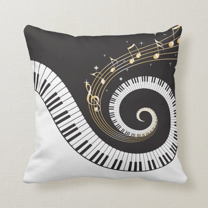 Keyes Decorative Pillow : Swirling Piano Keys Throw Pillow Zazzle