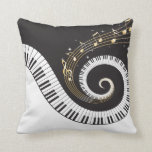 Swirling Piano Keys Throw Pillow