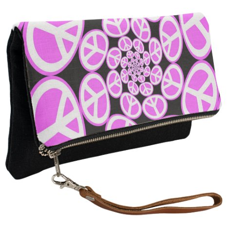 Swirling pink Peace signs Clutch purse