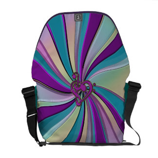 Swirling Rainbow Rays with a Music Heart Clef Courier Bag