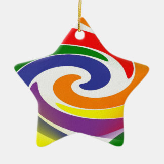 Swirling Rainbows Double-Sided Star Ceramic Christmas Ornament