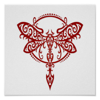 Swirling Red Dragonfly on White Poster