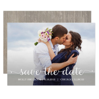 Swirling Script Wedding Save The Date Card