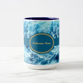 Swirling Sea Personalized Two-Tone Coffee Mug