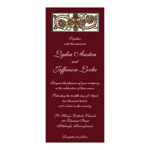"Swirling Shells Wedding Invitation 4"" X 9.25"" Invitation Card"
