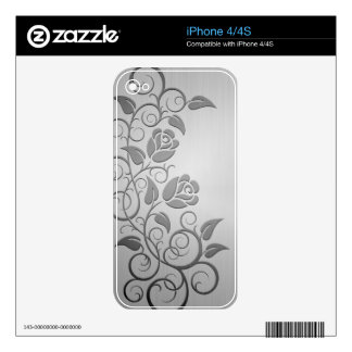 Swirling Steel Roses iPhone 4S Decal