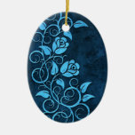 Swirling Stone Roses, blue Christmas Tree Ornaments