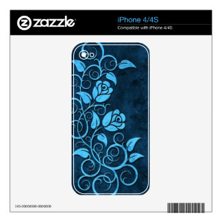 Swirling Stone Roses, blue Skin For iPhone 4S