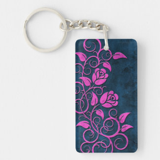 Swirling Stone Roses, pink on blue Keychain